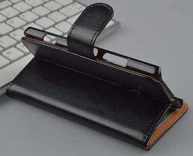 Кожаный чехол-книжка для Sony Xperia SP M35h C5302 C5303 черный, фото 3