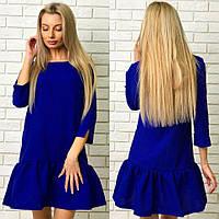 Красивое синее  платье с оборкой и карманами. Арт-1258/38