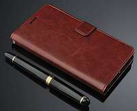 Кожаный чехол-книжка для Xiaomi Redmi Note 2 коричневый