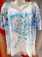Блуза трикотажная с цветами