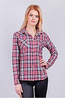 Рубашка с длинным рукавом женская, клетка 402K002-1