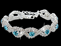 Роскошный свадебный  посеребренный браслет