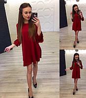 Модное женское красное  расклешенное платье и рукав 3/4 . Арт-1259/38