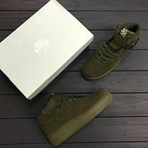 Замшевые кроссовки Nike Air Force 1 Hight Haki топ реплика, фото 2