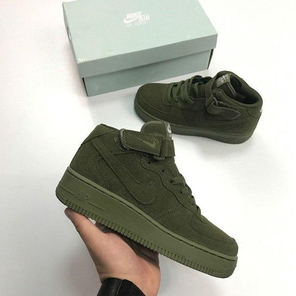 Замшевые кроссовки Nike Air Force 1 Hight Haki топ реплика