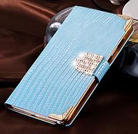 Роскошный чехол-книжка для Samsung Galaxy Note 4 N910 голубой