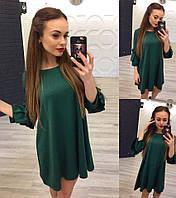 Модное женское зеленое расклешенное платье и рукав 3/4 . Арт-1259/38
