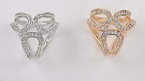 Брошь кольцо золотистое для шарфика и платка, фото 3