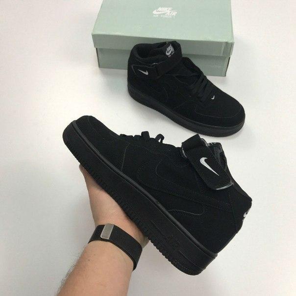 Мужские кроссовки Nike Air Force 1 Hight Black топ реплика