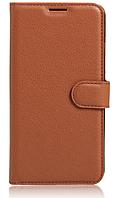 Кожаный чехол-книжка для HomTom HT17 коричневый