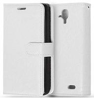 Кожаный чехол-книжка  для Lenovo A536 белый