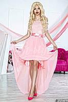 Нарядное женское платье с асимметричной юбкой,верх гипюр низ шифон,цвет нежно розовый