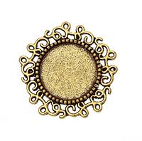 Основа под круглый кабошон 14 мм,  1шт., т.золото
