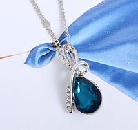 Стильная цепочка с кулоном,темно  голубым камнем