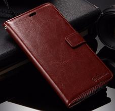 Кожаный чехол-книжка для Xiaomi Redmi note 3/ note 3 pro коричневый