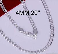 Стильная серебрянная цепочка 4мм.