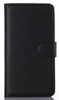 Кожаный чехол книжка для  Nokia Lumia 650 черный