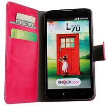 Кожаный чехол книжка для LG Optimus L70 черный, фото 2