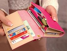 Женский кожаный кошелек визитница клатч синий, фото 3