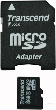 Карта памяти Transcend sd+adapter 8Gb , фото 2