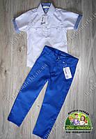 Нарядный костюм белая рубашка синие брюки для мальчика