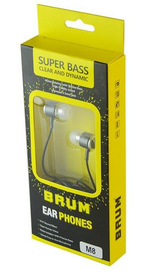 Наушники вакуумные BRUM M-8, с микрофоном, черные