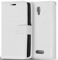 Кожаный чехол книжка  для Lenovo A2010 белый