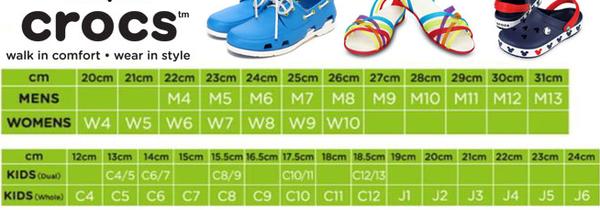 Размерная сетка обуви Crocs (Крокс)