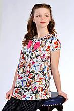 Нарядная летняя блуза для девочки с коротким рукавом из шифона с принтом