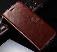 Кожаный чехол-книжка для  HTC One M8 коричневый