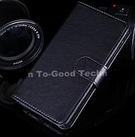 Кожаный чехол-книжка  для Lenovo A1900 черный