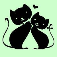 Виниловая наклейка- Коты (парочка влюбленных)