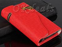 Стильный чехол-книжка для iPhone 5 5S красный
