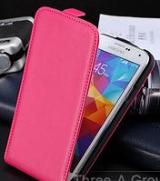 Кожаный чехол флип для Samsung Galaxy S5 i9600 SM-G900 розовый