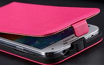 Кожаный чехол флип для Samsung Galaxy S5 i9600 SM-G900 розовый, фото 3