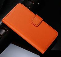 Кожаный чехол-книжка для iPhone 5 5S оранжевый