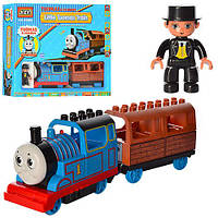 Конструктор Jixin Железная дорога 8288 B, локомотив, вагон, фигурка, музыка, свет, на батарейках