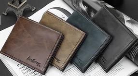 Стильный кожаный мужской кошелек портмоне Baellerry синий, фото 2