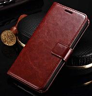 Кожаный чехол-книжка для Meizu M1 Note коричневый