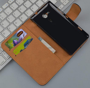 Кожаный чехол-книжка для Sony Xperia SP M35h C5302 C5303 коричневый, фото 2