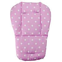 Матрасик детский в горошек в коляску, стульчик (розовый)