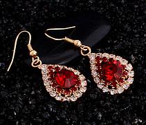 Набор позолоченный с красными камнями, фото 3