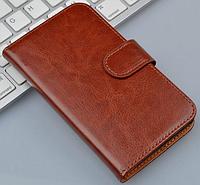 Кожаный чехол-книжка  для Lenovo A820 коричневый