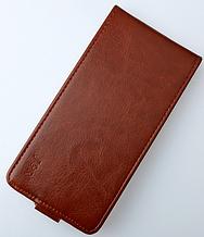Кожаный чехол флип для Doogee T6/T6 Pro коричневый