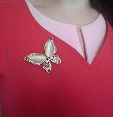 """Женская брошка """"Бабочка белая"""", фото 3"""