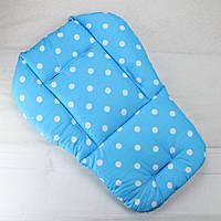 Матрасик детский в горошек в коляску, стульчик (голубой)