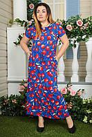 Платье батальное 2132 электрик вишни