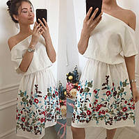 Льняное платье с вышивкой Цвета Норма д1253  Аванта 1234, фото 1