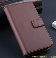 Кожаный чехол книжка для Samsung Galaxy S4 mini i9190 коричневый