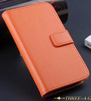 Кожаный чехол книжка для Samsung Galaxy S4 mini i9190 оранжевый